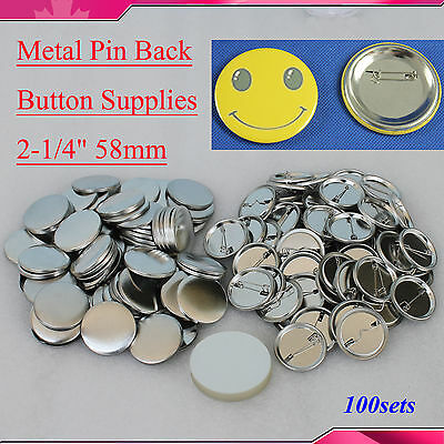 "100sets 2-1/4"" 58mm  Pin Badge Button Parts  for Button Maker metal  HOT SALE!!"
