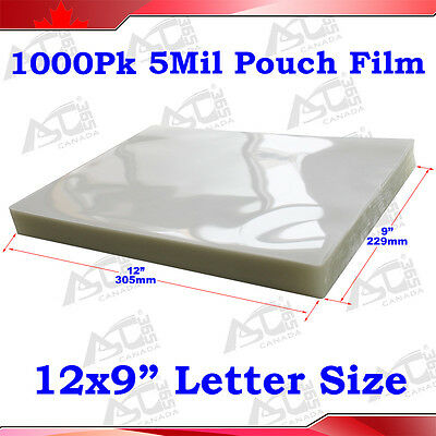 """1000Pk 5Mil 9x12"""" Letter Size Clear Laminating Pouch Film Thermal Hot Lamintor"""