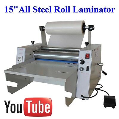 "All Metal 15""Roll Laminator Single/Dual Sided Thermal/Cold/Hot Laminating video"