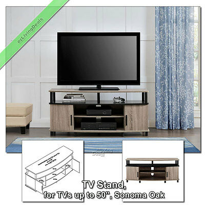 "TV Stands for Flat Screens 50"" Carson TV Stand Media Console Table, Sonoma Oak"