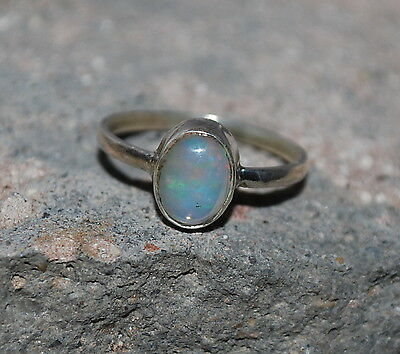 Natural Welo Ethiopian Fire Opal 925 Sterling Silver Ring Jewelry Handmade