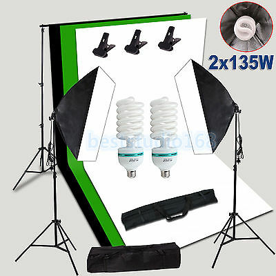 Photo Studio Continuous Lighting Softbox Backdrops Light Background Stand Kit UK