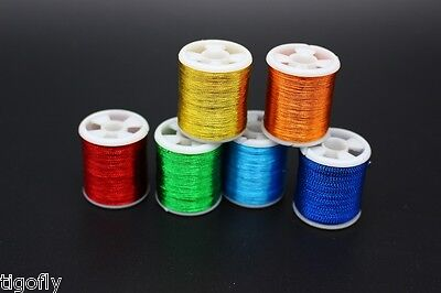 6 Spools Assorted Colors Fly Tying Glint Tinsel Thread Fly Tying Materials