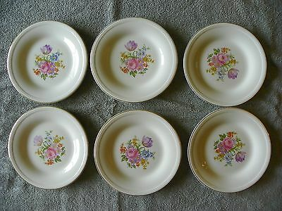 Edwin M. Knowles china Co set of 6 Saucers floral with 22 Karat Gold trim