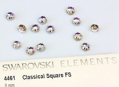 2 X Genuine SWAROVSKI 4461 Crystal AB Square Crystal 8mm with Sew On Setting