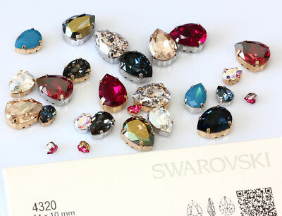 Genuine SWAROVSKI 4320 Pear Rhinestones with Sew On Metal Settings * Many Colors