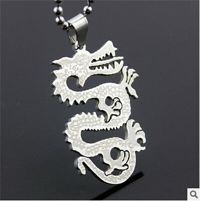 HOT dragon  Womens Men's Silver 316L Stainless Steel Titanium Pendant Necklace