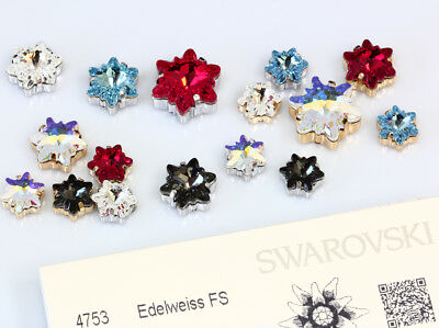 Genuine SWAROVSKI 4753 Edelweiss Flower Crystals with Sew On Metal Settings