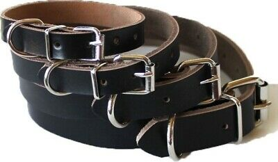 USA SELLER Pet Puppy Cat Dog Collar Genuine Real LEATHER Metal Buckle XXS/XS/S/M