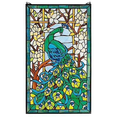 "Design Toscano 34"" High 23"" Wide Peacock's Paradise Stained Glass Window"