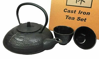 Japanese Tombo Dragonfly Heavy Cast Iron Made Tea Pot and Two Cups Set Home Gift