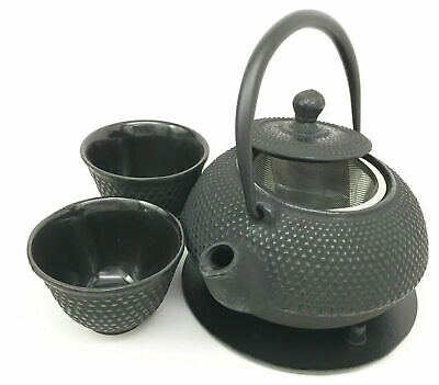 Japanese Imperial Dots Heavy Cast Iron Made Tea Pot Trivet & Cups Set Home Gift