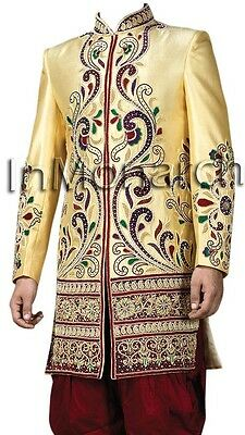 Embroidered Yellow Indo Western Sherwani Indian Groom Wedding Suits IN404