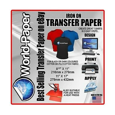 "Soft  Dark Inkjet Heat Transfer Paper - 8.5"" x 11"" - 10 Pack Blue Line"
