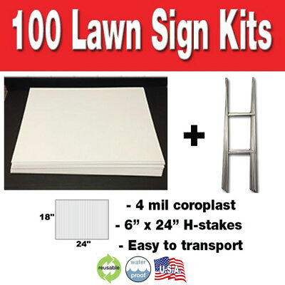 50 Pack Blank Yard Signs 18x24 with H-stakes for Garage Sales & Graduations