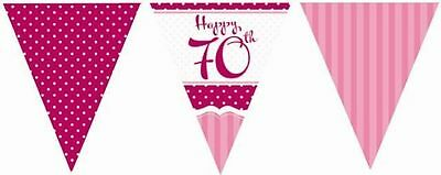 70Th Birthday Party Perfectly Pink Flag Bunting Decoration 11 Flags 12Ft