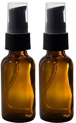 JUVITUS Amber Glass Boston Round Treatment Pump Bottle 2 oz (2 Pack) + Clear Bag