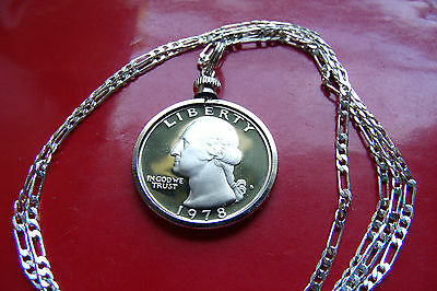 "1978 USA Proof Wash Quarter Eagle Coin Pendant on 30"" 925 Sterling Silver Chain"