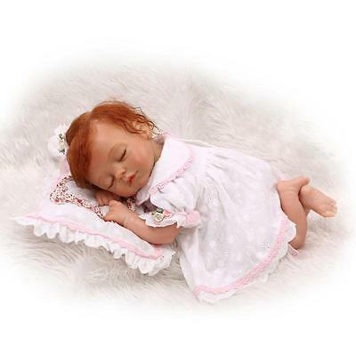 18'' Handmade Lifelike Reborn Baby Sleeping Girl Doll Silicone Vinyl Dolls Sweet