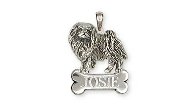Japanese Chin Personalized Pendant Handmade Sterling Silver Dog Jewelry JC8-NP