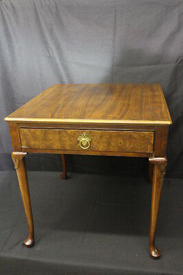 Vintage BAKER Walnut Queen Anne Style End Table w/Brass Drawer Pull