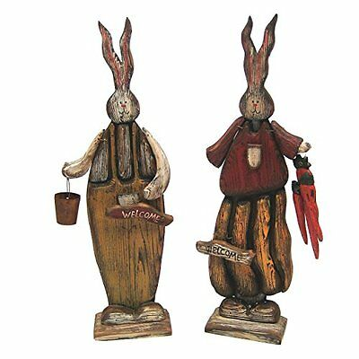 Wooden Bunny Figurine With Welcome Signs 16 Inch Set Of 2 Great Gift 20483