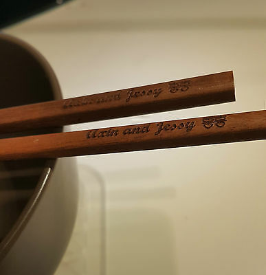 Set of 2 Pairs Personalised, engraved wooden chopsticks, wedding favour