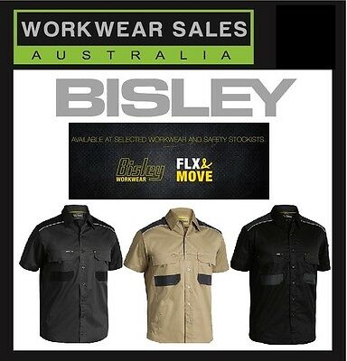 Bisley Flex & Move Mens Drill Work Shirt. Style BS1133, Short Sleeve.