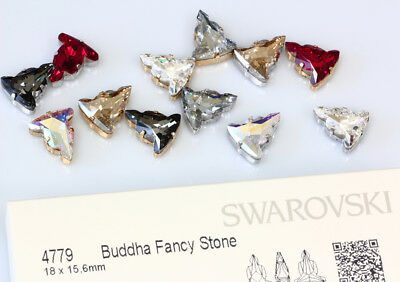 Genuine SWAROVSKI 4779 Buddha Crystals 18x15.6mm with Sew On Metal Settings