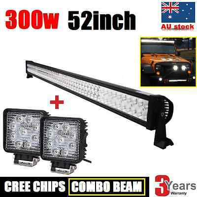 2x 27W + 1x 300W CREE LED DRIVING LIGHT BAR OFFROAD WORK AUTO VEHICLE 12V LAMP