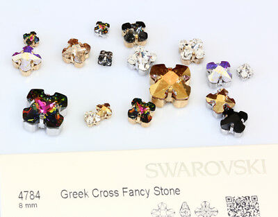 Genuine SWAROVSKI 4784 Greek Cross Rhinestones with Sew On Metal Settings