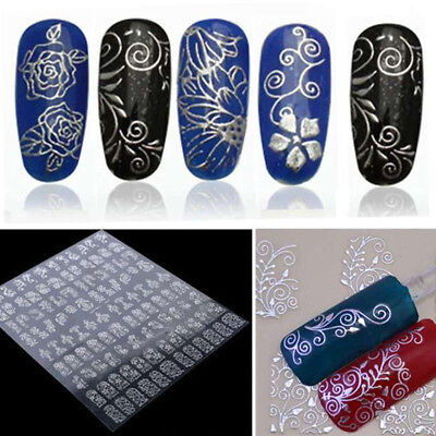 108 Silver 3D Flower Nail Art Stickers Decals Decorations Transfers Design Form
