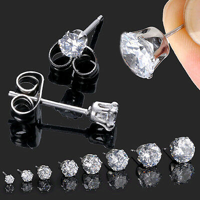 2pcs Mens Womens Stainless Steel Round 3-10mm Cubic Zirconia Stud Earrings New