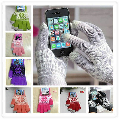 Print Women Magic Touch Screen Smartphone Texting Stretch Winter Knit Gloves