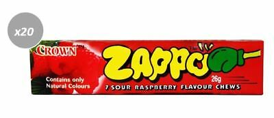 20 x 26g PACKETS OF ZAPPOS -  7 SOUR RASPBERRY FLAVOURED CHEWS