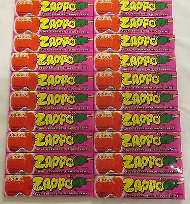 20 x 26g PACKETS OF ZAPPOS -  7 SOUR STRAWBERRY FLAVOURED CHEWS