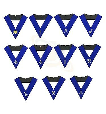 Masonic Blue Lodge Officers Collars Set of 11 Machine Embroided