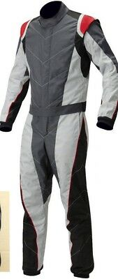 Go Kart Cordura Suit Dark Grey-White-Black-Red (Free Gift -Gloves and Balaclava)