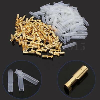 100Pcs Female 3.5mm Brass Bullet Connector Terminal + Insulation Cover GTC