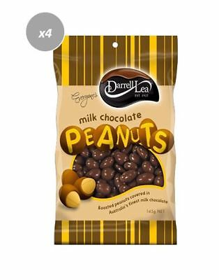 901906 4 X DARRELL LEA AUSTRALIAN MILK CHOCOLATE COATED PEANUTS 145g BAG