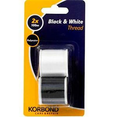 Korbond Twin Pack Black & White Threads 2x100m Care & Repair Sewing New 110790