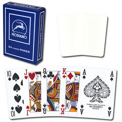 Modiano 100% plastic blank 4-PIP poker/regular playing cards - White