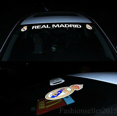 Reflective REAL MADRID Front Windshield Decal Vinyl Car Stickers Team Logo Acces
