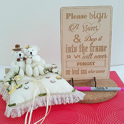 Engraved Sign for Wooden Wedding Heart Drop Box Guest  Book with stand