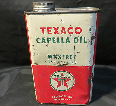 Vintage Texaco Capella Oil Waxfree Non-Foaming Can 1 QT
