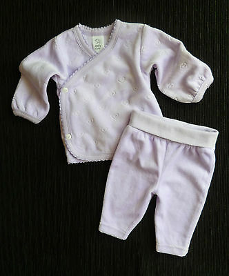 Baby clothes GIRL newborn 0-1m mauve velour hearts wrap-over top/soft trousers