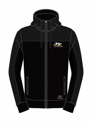 Isle of Man TT Black Material shoulder Hoodie Jacket 16AH8   Zip jacket