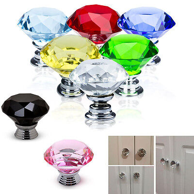 1/5/10PC 30mm Diamond Crystal Glass Pull Cabinet Drawer Door Knob Handle 8 Color