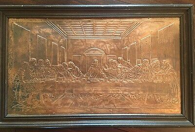 the last supper copper relief embossed wall hanging wood framed plaque 1987