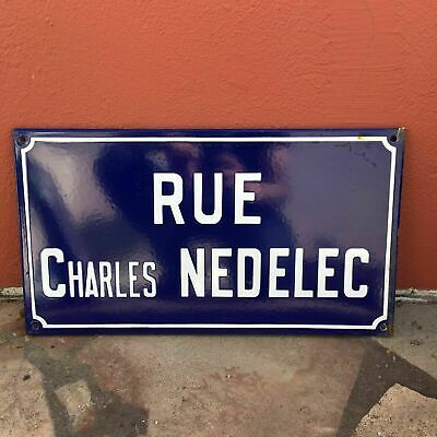 Old French Street Enameled Sign Plaque - vintage nedelec